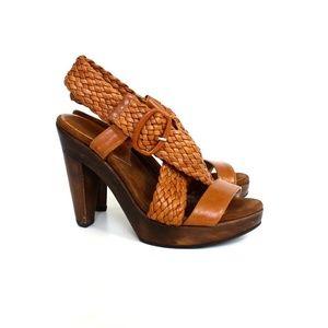 Loeffler Randall Cognac Leather Wood Heels